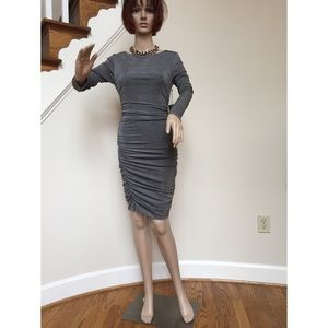 Vince Camuto pewter metalic ruched bodycon dress